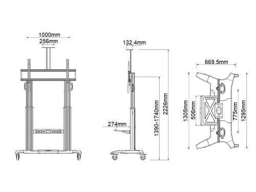 Parametry televizního stojanu Fiber Mounts GF100