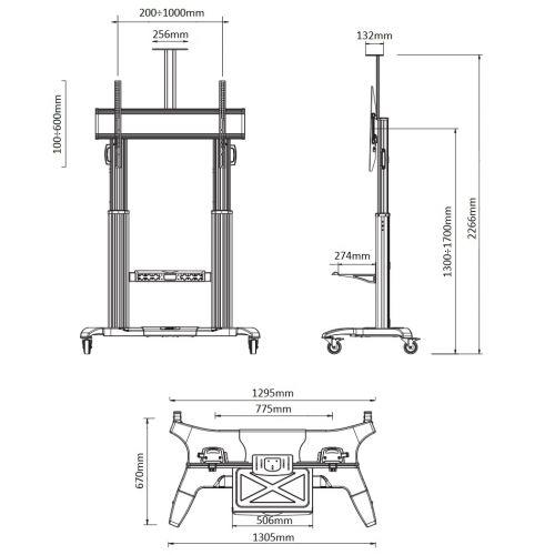 Pojízdný televizní stojan s výškovým nastavením