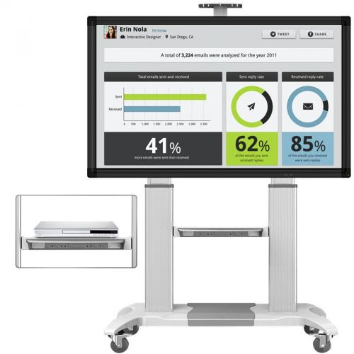 Luxusní mobilní prezentační stojan včetně poličky na příslušenství