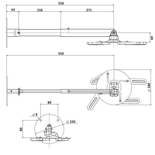 Rozměry nástěnného držáku OMB Gyro Projector