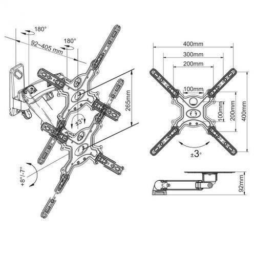 Rozměry polohovatelného držáku F400S