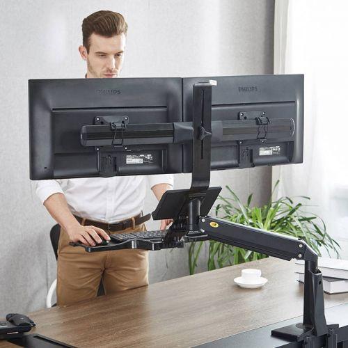 Pracovní stolní držák dvou monitorů a klávesnice