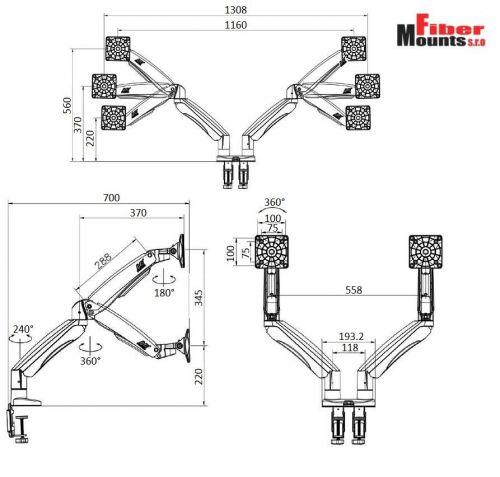 Parametry stolního držáku F195