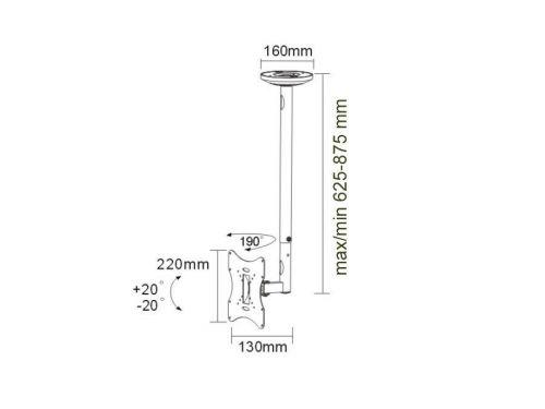 Parametry stropního držáku Fiber Mounts DELTA504S