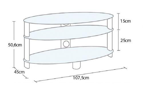 Stolek oválného tvaru na televizi