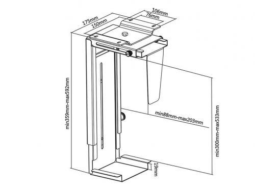 Parametry držáku na PC Fiber Mounts PC713S