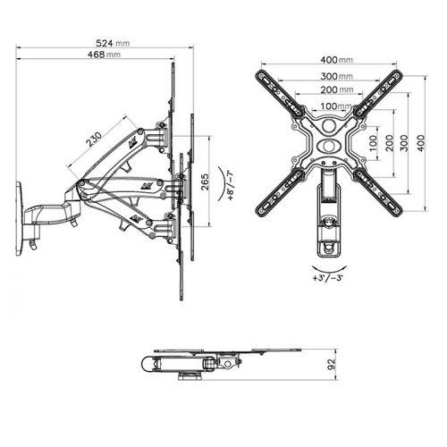 Nákres polohovatelného držáku Mounts F500B