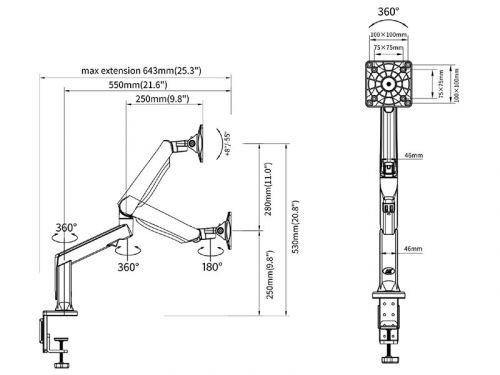 Parametry stolního držáku monitoru Fiber Mounts F90A bílý