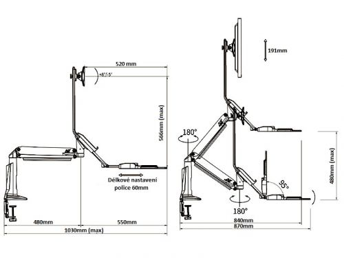 Parametry stolního držáku Fiber Mounts FC35W