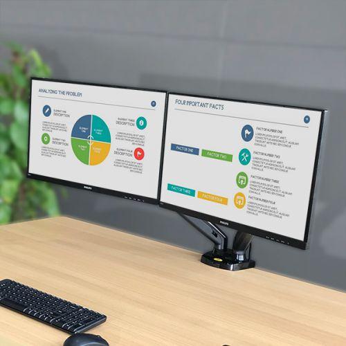 Polohovatelný stolní držák na dva LCD monitory