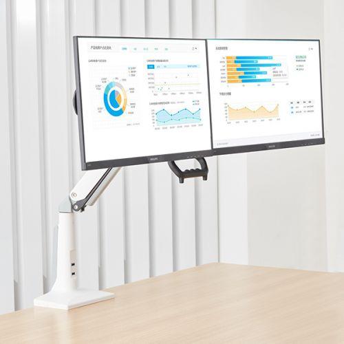 Bílý výškově polohovatelný stolní držák na dva monitory