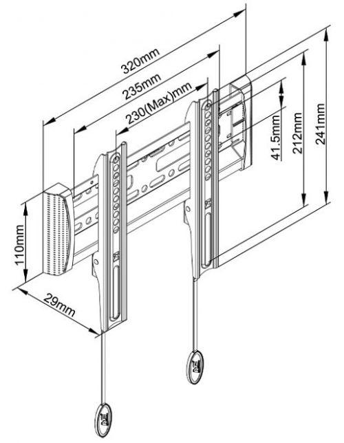 Parametry fixního držáku Fiber Mounts C1-F