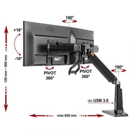 Stolní držák dvou LCD monitorů s výškovým nastavením