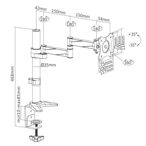 Nákres stolní držáku Fiber Novelty F70