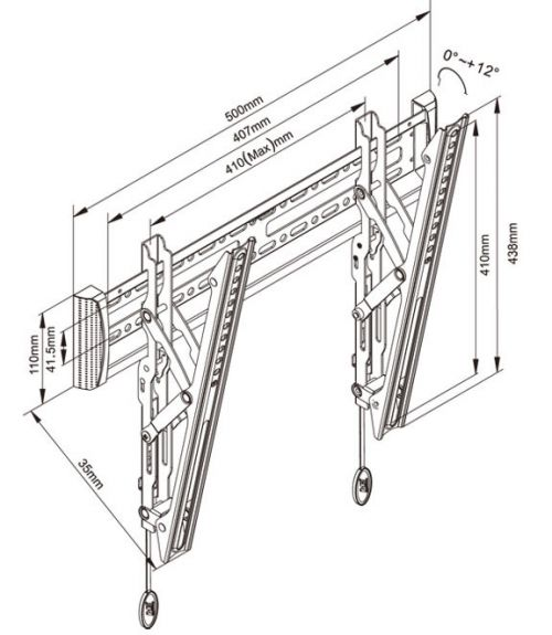 Parametry sklopného držáku Fiber Mounts C2-T