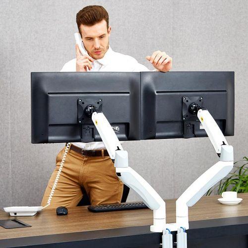 Výškově nastavitelný bílý držák na dva monitory