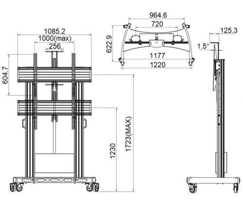 Rozměry motorizovaného stojanu NB TW100