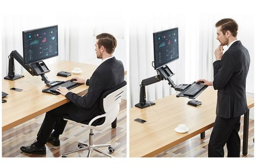 Stolní držák monitoru a klávesnice pro práci vsedě, vestoje