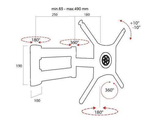 Rozměry kloubového držáku OMB Rombi