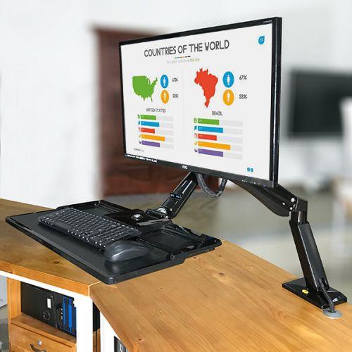 Otočný, sklopný, výškově stavitelný stolní držák monitoru a klávesnice
