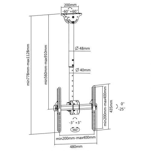 Otočný a sklopný stropní držák Fiber T400