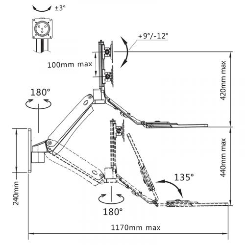 Rozměry polohovatelného držáku monitoru a klávesnice