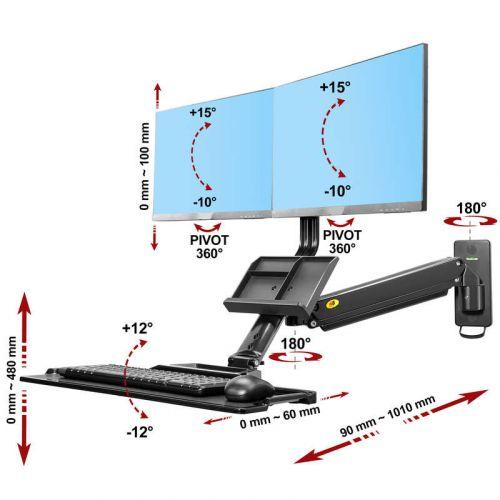 Výškově nastavitelný nástěnný držák LCD, LED monitorů a klávesnice