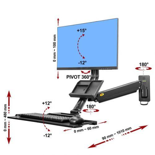 Parametry nástěnného držáku monitoru a klávesnice Mounts MC32B