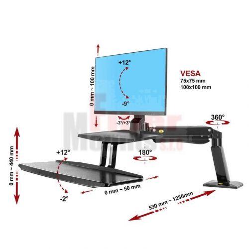 stolní držák monitoru a klávesnice FC55B - parametry