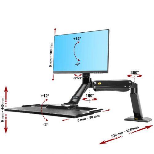 Výškově polohovatelný držák monitoru a klávesnice