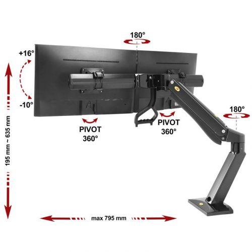 Polohovatelný stolní držák dvou monitorů vedle sebe