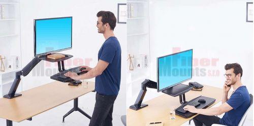 Polohovatelný stolní držák monitoru a klávesnice - možnost pracovat ve stoje nebo vsedě