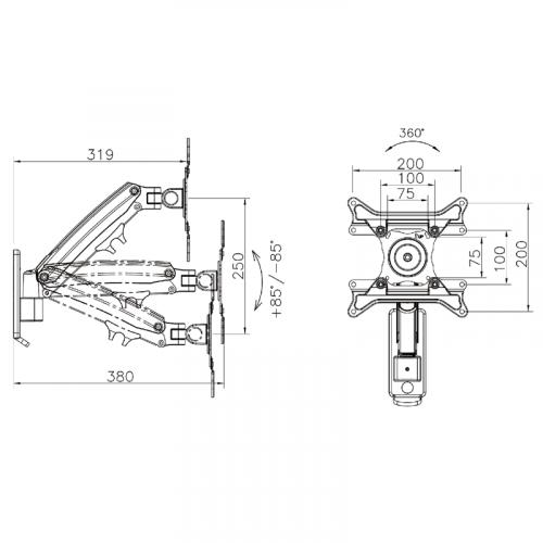 Parametry polohovatelného televizního držáku FIBER F425