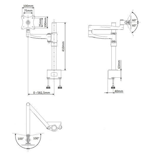 Stolní držák s dlouhým ramenem a výškovým nastavením