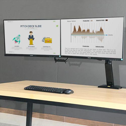 Stolní polohovací držák na 2 LCD, LED monitory